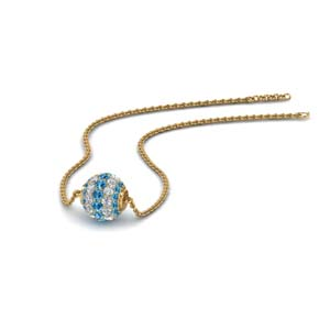 0.50 ct. pave diamond sphere pendant with blue topaz in FDPD8433GICBLTO NL YG