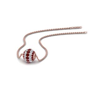 0.50 ct. pave diamond sphere pendant with ruby in FDPD8433GRUDR NL RG