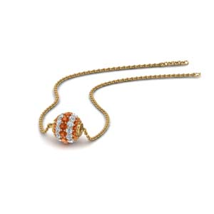 0.50 ct. pave diamond sphere pendant with orange sapphire in FDPD8433GSAOR NL YG