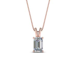 0.75 ct. emerald cut diamond pendant in FDPD8469EM0.75CTANGLE2 NL RG