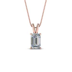 14K Rose Gold One Carat Solitaire Pendant