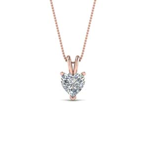 Solitaire Heart Diamond Pendant