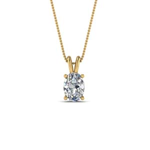 Oval Single Diamond Pendant