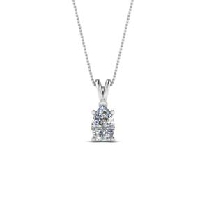 14K White Gold Solitaire Pendant
