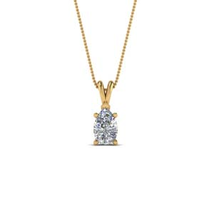 Single Stone 14K Yellow Gold Pendant