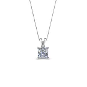 0.25 ct. diamond princess cut pendant in 14K white gold FDPD8469PR 0.25CTANGLE2 NL WG