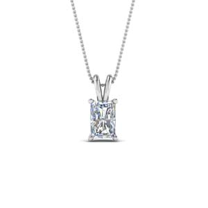 14K White Gold 0.75 Ct. Radiant Cut Solitaire Pendant