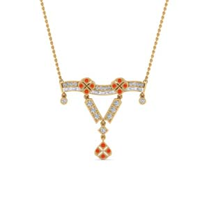 Art Deco Orange Topaz Necklace