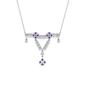 Platinum Purple Topaz Necklace Pendant