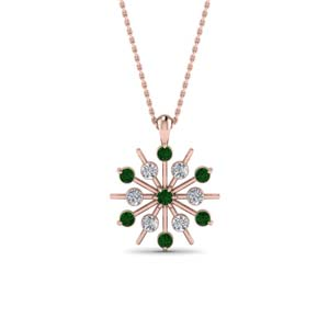Snowflake Emerald Necklace For Her