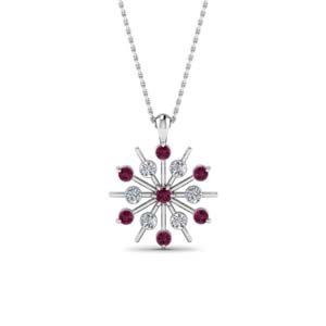 Diamond Necklace With Pink Sapphire