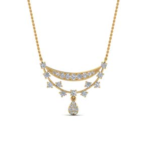 Antique Curved Diamond Drop Necklace