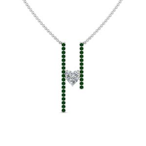 Platinum Emerald Gemstone Pendant