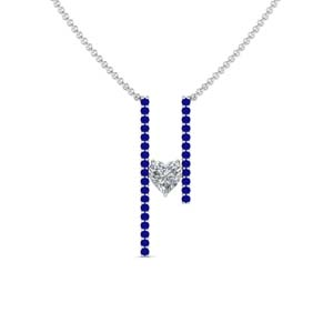 Heart Diamond Necklace With Sapphire