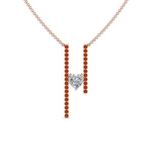 Orange Sapphire Bar Necklace