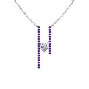 Purple Topaz Floating Bar Necklace