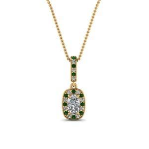 Cushion Halo Emerald Pendant