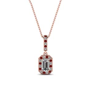 Pave Diamond Pendant With Ruby