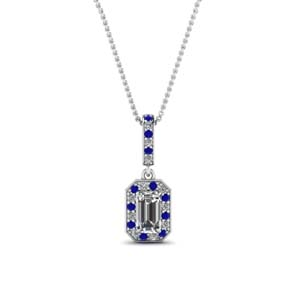 White Gold Emerald Cut Pendant