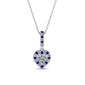 Sapphire Halo Love Necklace