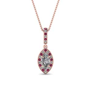 Marquise Halo Pink Gold Pendant