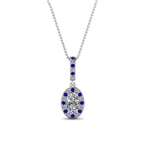 oval shaped sapphire fancy pendant in 14K white gold FDPD85656OVGSABL NL WG