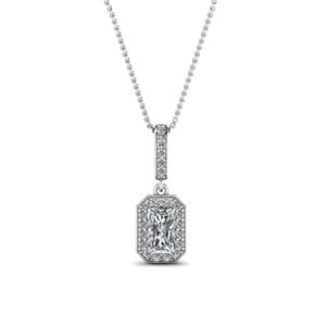 Radiant Cut Halo Diamond Necklace