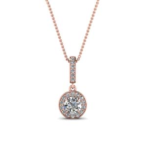 Rose Gold Round Halo Pendant