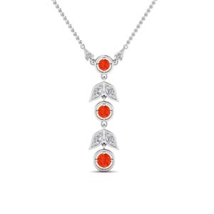 Orange Topaz Petal Drop Necklace