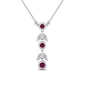 White Gold Pink Sapphire Necklace