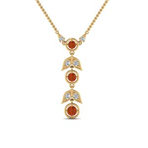 Orange Sapphire Yellow Gold Necklace
