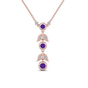 Petal Purple Topaz Drop Necklace