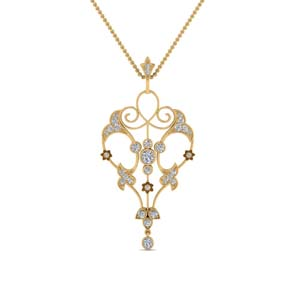 Filigree Diamond Art Deco Necklace