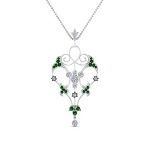 Filigree Emerald Necklace For Women