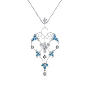 Blue Topaz Art Deco Necklace