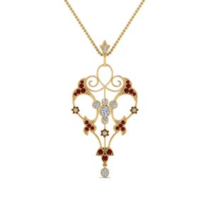 Art Deco Filigree Ruby Necklace