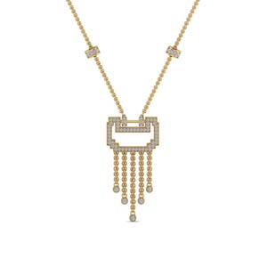 Gold Art Deco Drop Necklace