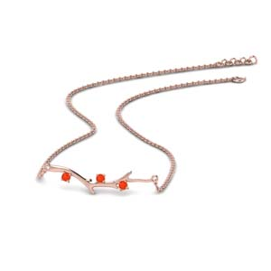 Orange Topaz Branch Design Necklace