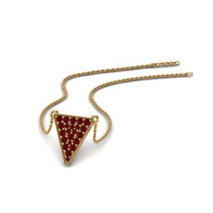 Cluster Ruby Triangle Pendant