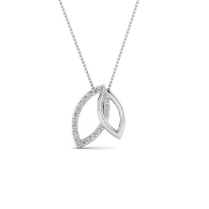 Open Marquise Linked Silver Necklace