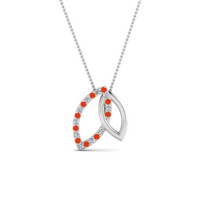 Orange Topaz interlinked Necklace