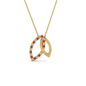 18K Gold Necklace With Orange Sapphire