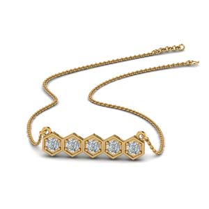 Pave Diamond Hexagon Pattern Necklace