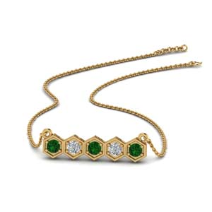 Pave Hexagon Pendant With Emerald
