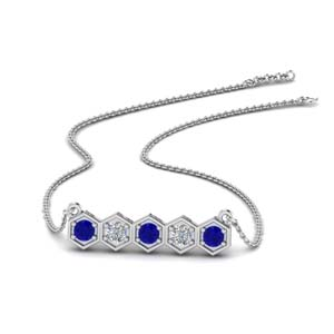 Sapphire Pave Hexagon Necklace