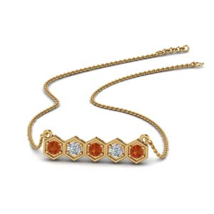 pave-hexagon-diamond-necklace-with-orange-sapphire-in-FDPD86609GSAOR-NL-YG