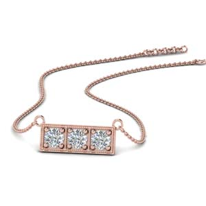 3 Stone Rose Gold Necklace