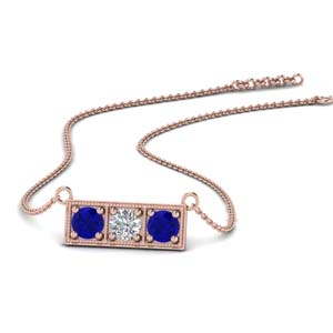 Diamond Pendants With Blue Sapphire