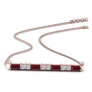 Ruby Baguette Pendant For Women