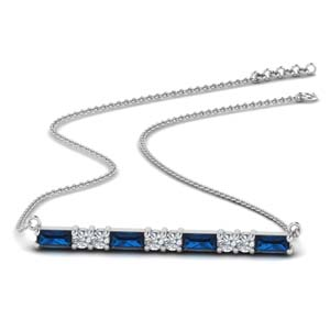 Sapphire Bar Necklace For Women